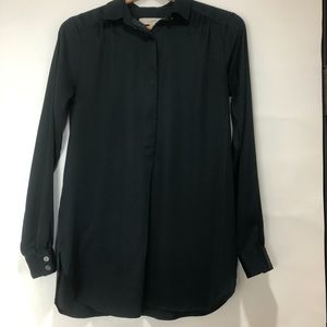 Loft Dark Green Almost Black Shirt Button Collar